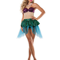 Sexy Women Mermaid Costume New Arrival Mermaid Tail Halloween Costume Cosplay Sleeveless Top and Skirt