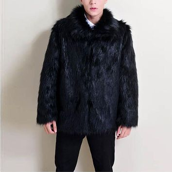 Men's Fur Lapel Coat Casual Winter Imitation Fox Fur Men Large Yards Thick Mink Coat Tide Thick Faux Fur Solid