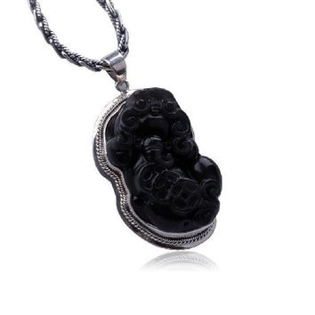 Obsidian Gemstone Necklace Sterling Silver Gothic Jewelry for Men (PENDANT ONLY)