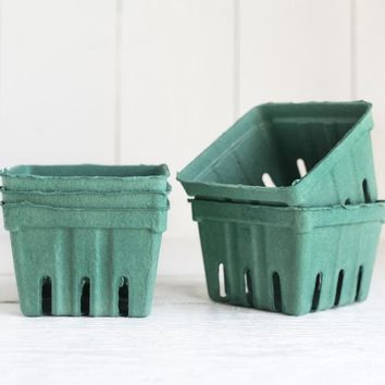 Berry Baskets - 5 Pine Green Paper Pulp Boxes