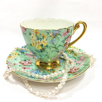 Shelley Tea Cup and Saucer, Floral Chintz Tea Cup, Melody Pattern, Ripon Shape, Gold Rims Handle & Pedestal, Estate China, Vintage