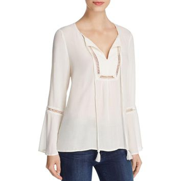 Avec Womens Embroidered Sheer Peasant Top