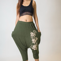 Low Cut Harem Pants Cotton Spandex Printed 3 Lotus Olive