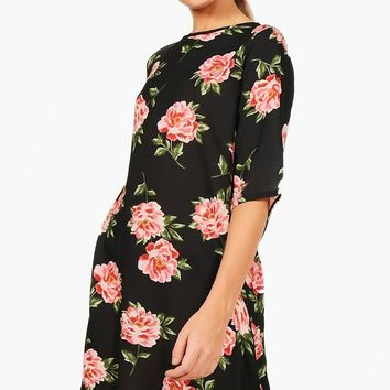 Nicole Large Floral 3/4 Sleeve Shift Dress | Boohoo
