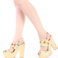 Neon Yellow Floral Print Open Toe Chunky Heels Fabric