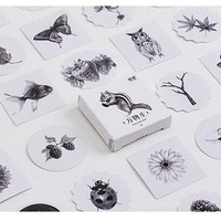forest animal sticker natural creatures owl squirrel deer mushroom duck wild plant animal biology label sticker black and white drawing icon