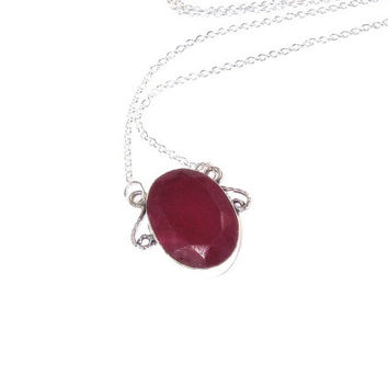 Ruby Pendant  , Faceted Ruby Gemstone Pendant , Sterling Silver Ruby Pendant , Sterling Silver Chain