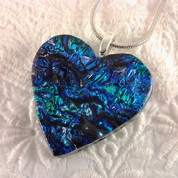 Dichroic Heart Pendant Fused Glass Jewelry Blue by AngelasArtGlass