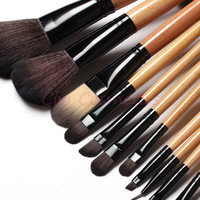 15 pcs Soft Synthetic Hair make up tools kit Cosmetic Beauty Makeup Brush Black Sets with Leather Case (Color: Burlywood) = 1753499076
