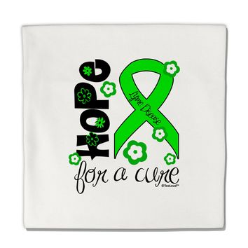 """Hope for a Cure - Lime Green Ribbon Lyme Disease - Flowers Micro Fleece 14""""x14"""" Pillow Sham"""