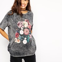 ASOS T-shirt in Acid Wash and Floral Print at asos.com
