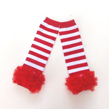 Baby leg warmers, ruffled leg warmers, red leg warmers, girls leg warmers, Holiday leg warmers