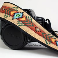 dSLR Camera Strap with pocket, Southwestern, Tribal, SLR