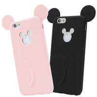 Simple Sihoulette Candy Colors Mint Pink Black Mickey Mouse Silicone Phone Case Cover for iphone 6 6S 4.7Inch