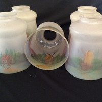 Set of 5 Matching Reverse Painted Shades Vintage Antique Windmill Scene 1920s