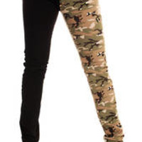 Skinny Stretch Black & Camo Split Leg Low Rise Hipsters Punk Rock Party Glam