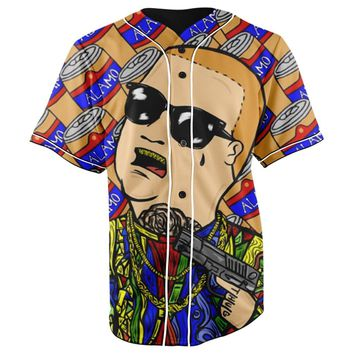 Bobby Trill King Of The Hill All Over Full Print 3D Diy Sublimated Cotton & Polyester Blend Unisex Button Up Baseball Jersey