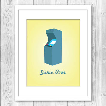 Print Arcade Game Geeky Nerdy Gamer Yellow Old School Retro Gmae Over Young at Heart Quote Home Decor Wall Decor Wall Art