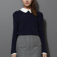 Pearly Peter Pan Collar Top in Navy Blue Blue