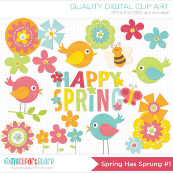 Spring Has Sprung #1 / Spring Birds Clip Art / Digital Clipart - Instant Download