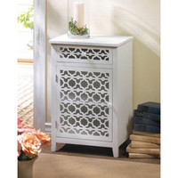 Floral Diecut Home Accent White Table And Storage Cabinet