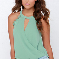 Poetic Performance Sage Green Lace Top