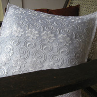 Decorative Throw Pillow cover Accent Pillows of Size 16 x 16 White Lace with a Satin Lining Fabric Pillow Cover Cushion Cover Home Décor