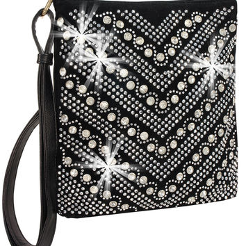 * Rhinestone Chevron Crossbody Handbag In Black