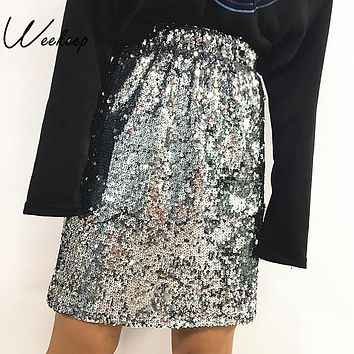 Weekeep Women 2017 Sexy Sequined High Waist Skirt Summer Autumn New Ladies Mini A-Line Skirts Saias Fashion One Size Streetwear