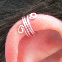 Wide Spiral Ear Wrap Cuff No Pierce Pink