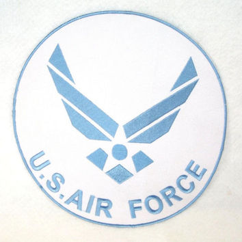 "US Air Force Patch Large Back Patch for Jacket Vest size 10"" Round Blue & White"
