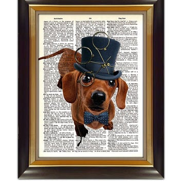 "Dictionary Page Art - DIY Digital Art Print - Steampunk Dog on a Vintage Dictionary Page - CP-322 - 8.5""x11"" - Instant Download"