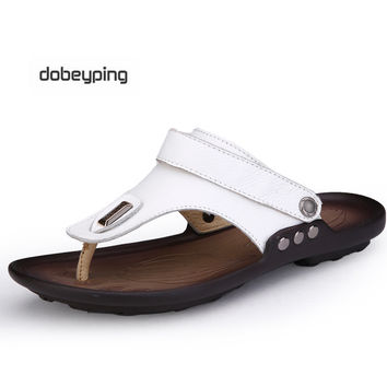 New Arrival Soft Leather Beach Sandals Men Genuine Leather Flip-flops Summer Shoes Classics Slippers for Men Ankle Strap