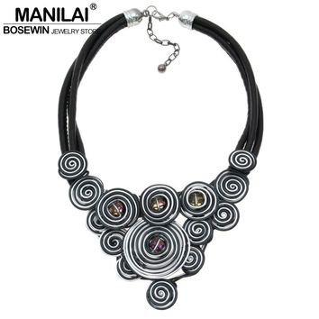 MANILAI Unique Design Choker 2016 Handmade Jewelry Fashion Leather Chain Spiral Metal Wire Crystal Statement Necklace CE4146