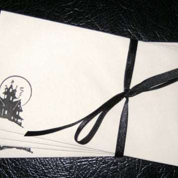 Envelopes Stamped Haunted House Halloween Fall Set of 10  - 3x5
