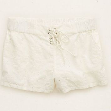 Aerie Women's Eyelet Lace Up Short