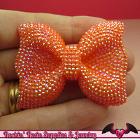 2 pcs FAUX RHINESTONE Orange BOWS Large Flatback Resin Decoden Kawaii Cabochons 54x42mm