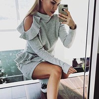 Women Simple Solid Color Frills Strapless Long Sleeve Mini Dress