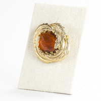 60's__Vintage__Gold Feather Amber Jewel Brooch