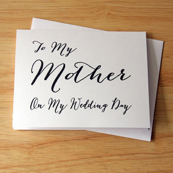 Wedding Card, Card For Mom, Bride To Mother Card, Gift For Mother, Marriage Card, Sincere Feelings, Love Card, Groom To Mother, Caring