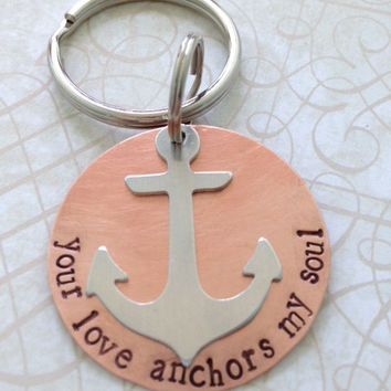 Your Love Anchors My Soul Copper Key Ring