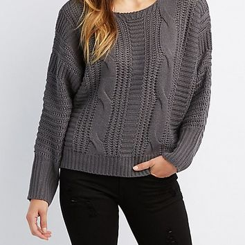 Mixed Knit Hooded Sweater | Charlotte Russe