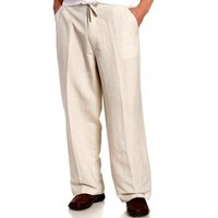 Cubavera Men's Big Linen Blend Drawstring Pant With Elastic Waistband