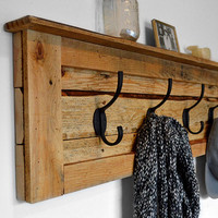 Coat Hooks - Reclaimed Wood Coat Rack - Entryway Coat Hooks - Pallet Furniture - Entryway Organizer - Key Hook - Rustic Coat Rack - Decor