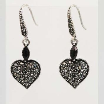 Marcasite Look Heart Dangle Earrings-Vintage Inspired Jewelry