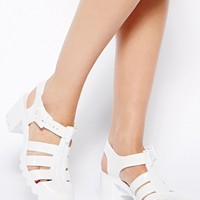 JuJu Babe White Heeled Jelly Sandals