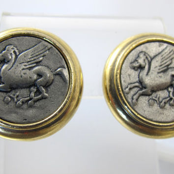 Vintage Cameo Coin Earrings Antique Flying Pegasus Coin Clip On