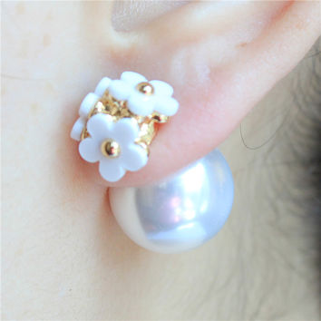 2015 new hot design fashion brand jewelry Flowers stud earrings double Imitation pearls style Statement earring for women