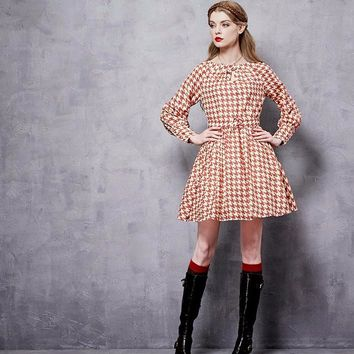 PLT Houndstooth Printed Poet Sleeve Mini Dress