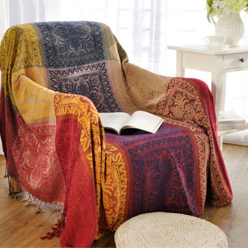 Warm sofa decorative slipcover Throws on Sofa/Bed/Travel Plaids Rectangular color stitching blankets 2016 new blankets